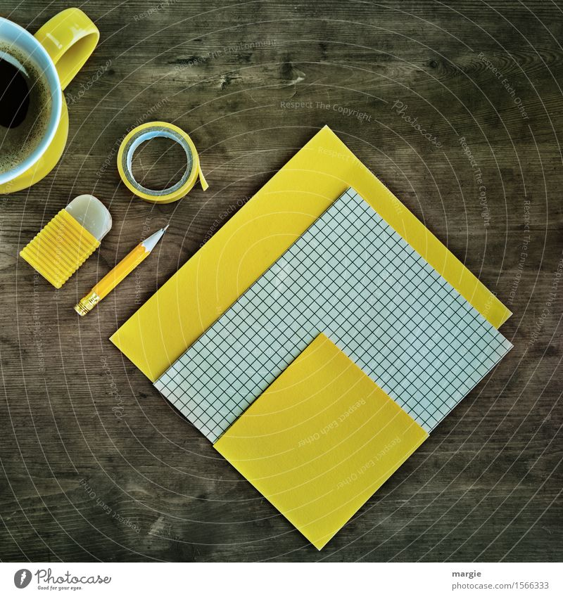 Yellow and checked paper, pencil, eraser, tape and a cup of coffee, all in yellow on an old desk Drinking Cup Mug Work and employment Profession Office work