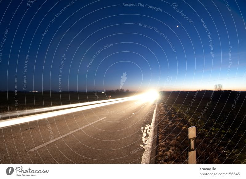 Sky Beautiful Street Stars Speed Driving Motor vehicle Traffic infrastructure Pole Starry sky Night Rear light