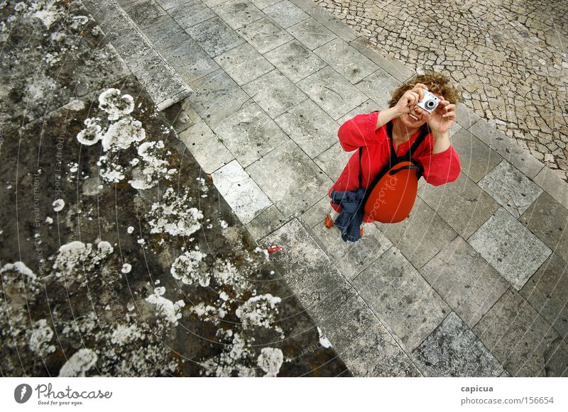The Red Photographer Photography Wide Gray Stone Tile Woman Leisure and hobbies viewfinder Smiling Happy