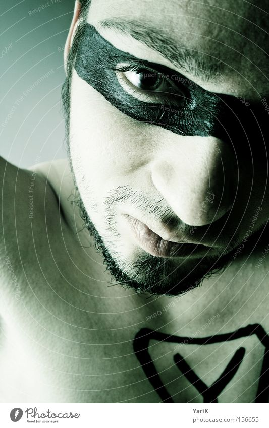 Y Hero Mask Ypsilon Face Man Upper body Head Eyes Mouth Green Camouflage Eyeglasses Facial hair Great superhero
