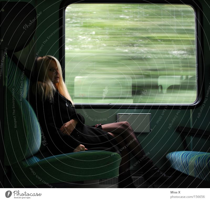 nabbed Vacation & Travel Woman Adults Window Transport Train travel Railroad Commuter trains Train compartment Dress Blonde Observe Driving Dream Wait Cry