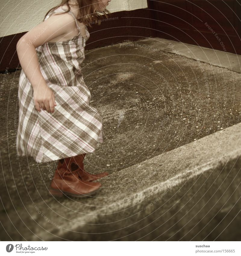 on the wall .. Child Girl Wall (barrier) Summer Dress Contentment Highway ramp (entrance) Swing Movement Walking