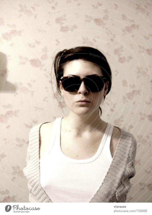 Woman Cool (slang) Might T-shirt Eyeglasses Shirt Sunglasses Underwear Cloth Hip & trendy Mafia Undershirt Fine rib Ray Ban
