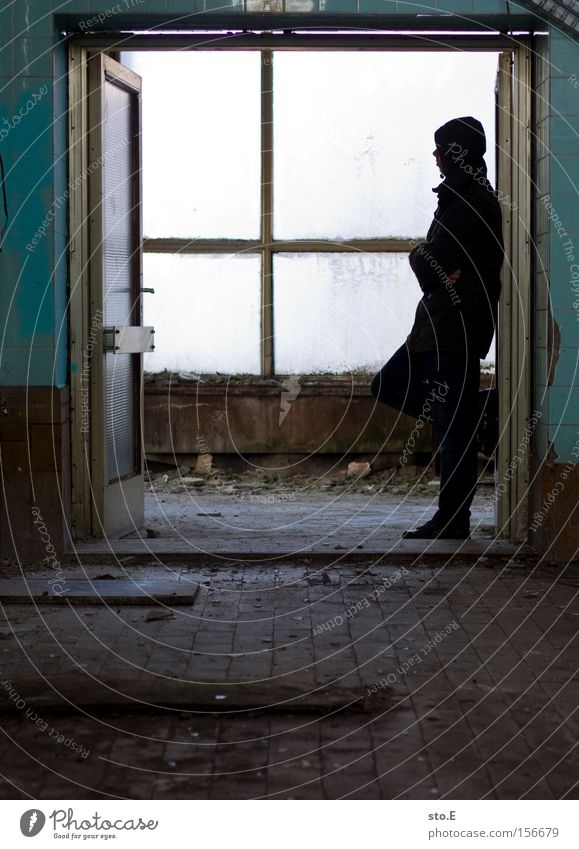 Human being Calm Loneliness Window Wait Dirty Glass Door Industry Derelict Boredom Shabby Window pane Slice Passage Timeless