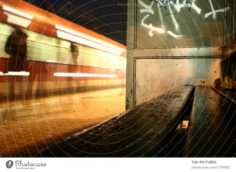 Graffiti Wait Railroad Speed Sit Bench Night Hide Train station Ghosts & Spectres  Public transit Intoxicant Commuter trains