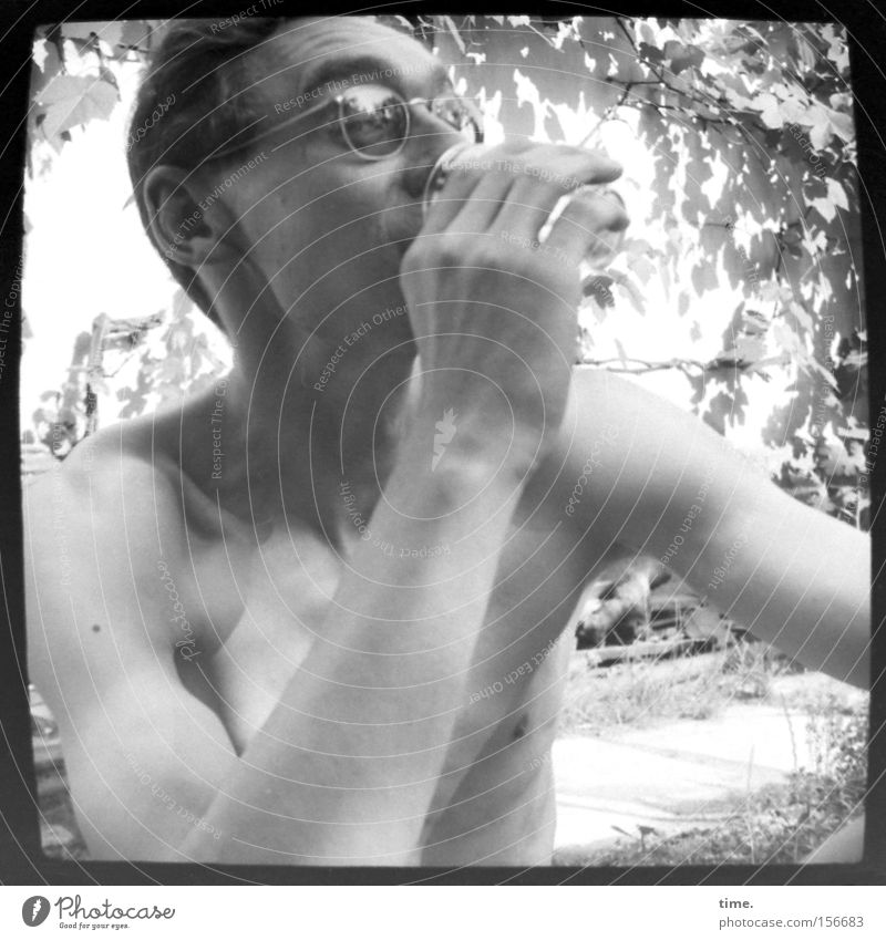 Man Nature Leaf Adults Masculine Beverage Drinking Eyeglasses Thin Observe Short-haired Twigs and branches Naked flesh
