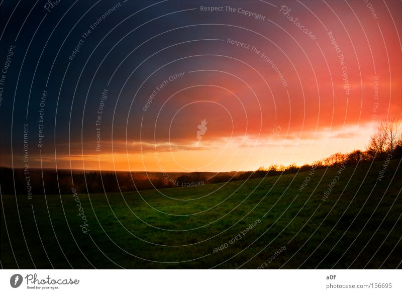 Red Clouds Colour Meadow Orange Sunset Hill Dusk HDR Extraterrestrial
