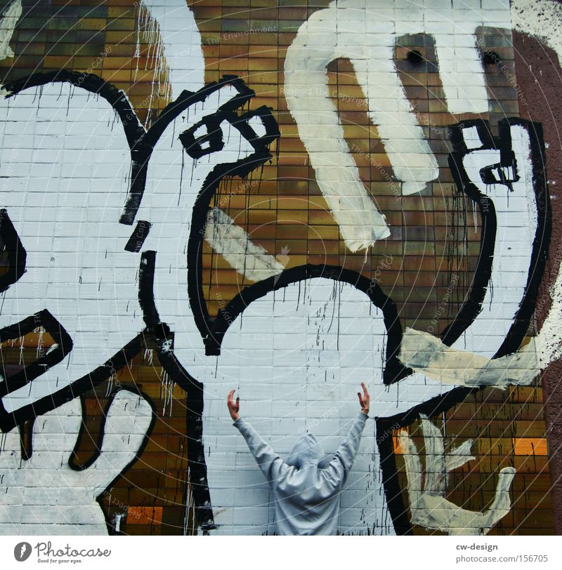 Human being Man Youth (Young adults) Wall (barrier) Graffiti Art Facade Leisure and hobbies Painting and drawing (object) Anonymous Painter Hip-hop Street art