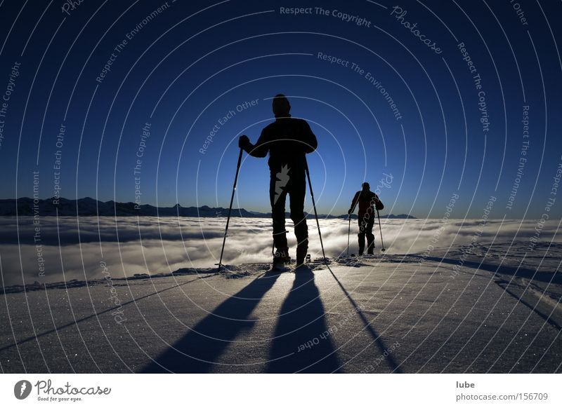 shadow play Shadow Ski tour Winter Winter sports Fog Sea of fog Clouds Skier Peak Mountain Climbing Snow Sky blue Nature Sports Playing