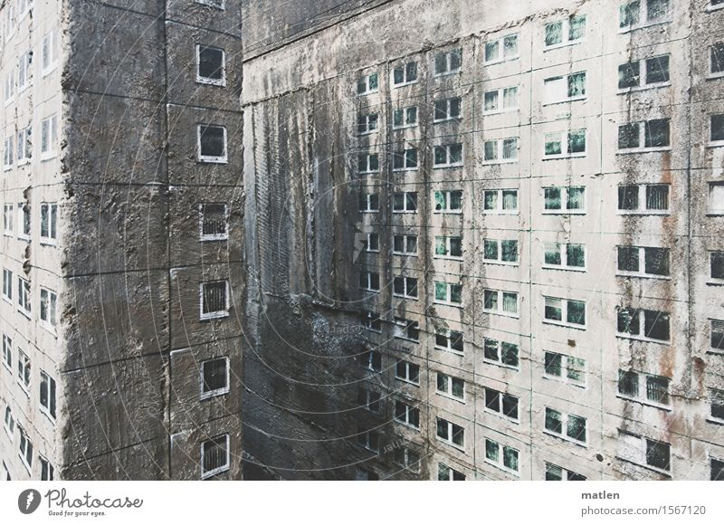 inner-city densification Deserted House (Residential Structure) High-rise Wall (barrier) Wall (building) Facade Window Dark Gray White Lighting Decoration