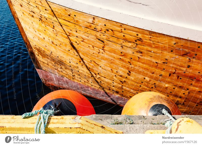 cutter Work and employment Summer Beautiful weather North Sea Baltic Sea Ocean Fishing village Harbour Navigation Fishing boat Maritime Positive Graphic Fender