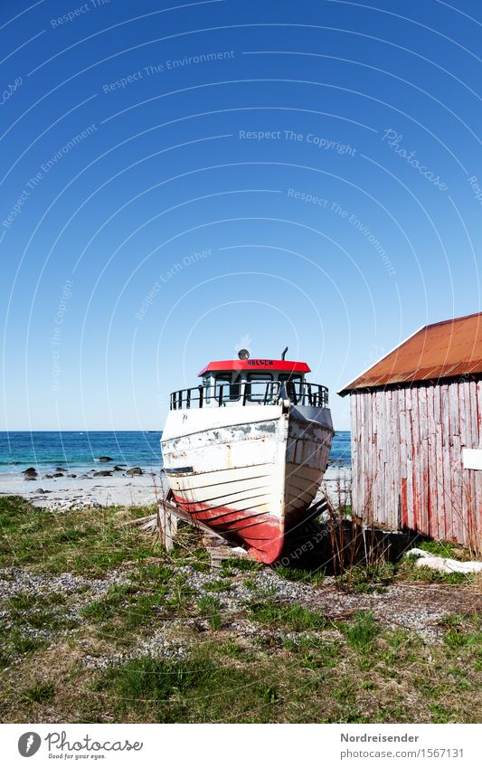 on the dry Vacation & Travel Far-off places Summer Ocean Nature Landscape Elements Sky Cloudless sky Beautiful weather Coast Fishing village Deserted Hut