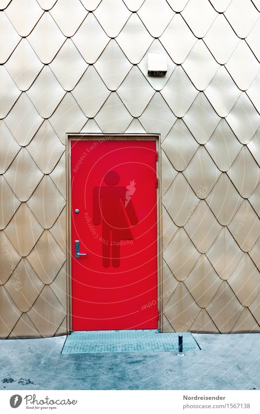 Vacation & Travel City Red Architecture Wall (building) Background picture Building Lifestyle Wall (barrier) Facade Door Modern Gold Signs and labeling Esthetic