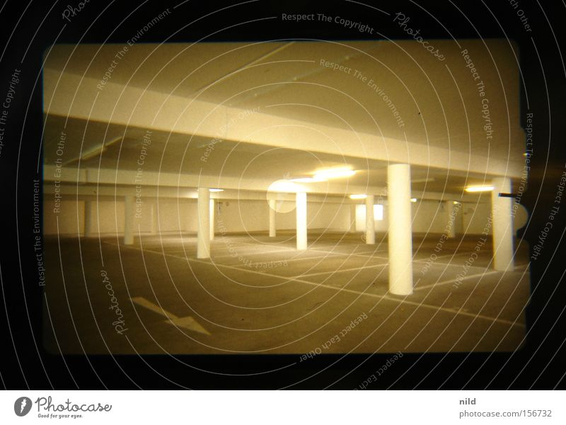 Underground car park (analogue-digital) Underground garage Parking lot Empty Parking reserved for women Traffic infrastructure Room Highway ramp (exit)