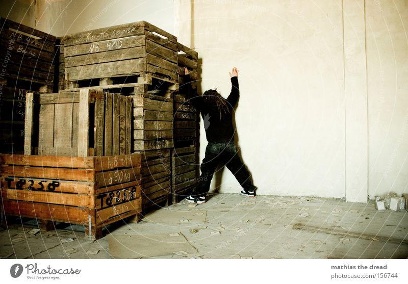 X Man Dreadlocks X-Men Corner Placed Stack Dirty Loneliness Creepy Threat Captured Catch Arrested Derelict Beautiful dread Wooden box Shame Storage