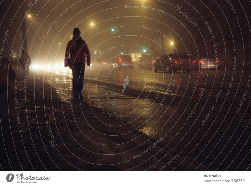 Target in the dark Street Human being Sidewalk Car Traffic light Fog Eerie Night City life Lanes & trails In transit Crime thriller Rain Asphalt Potsdam