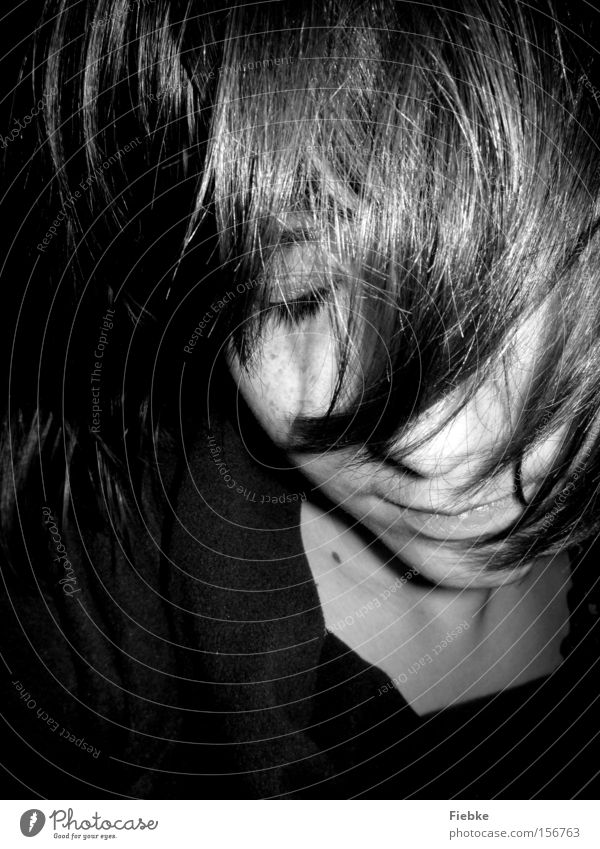 forgotten Woman Face Eyes Portrait photograph Dream Thought Think Hide Forget Expulsion Grief Disaster Fate Decide Insecure Calm Distress Black & white photo