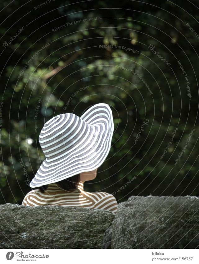 Summer Relaxation Feminine Garden Park Leisure and hobbies Fashion Perspective Circle Stripe Peace Hat Ring Breathe Manhattan Concealed