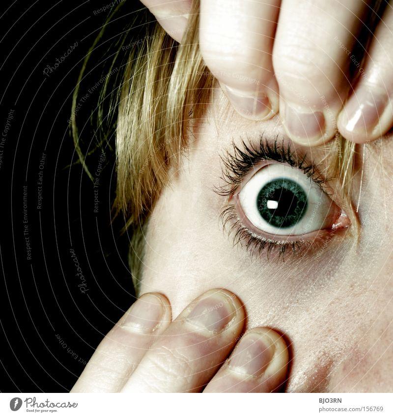 Eyes open! Hair and hairstyles Skin Face Human being Feminine Woman Adults Fingers Curiosity Surprise Fear Dangerous Stress Anatomy Eyelash Lens Pallid