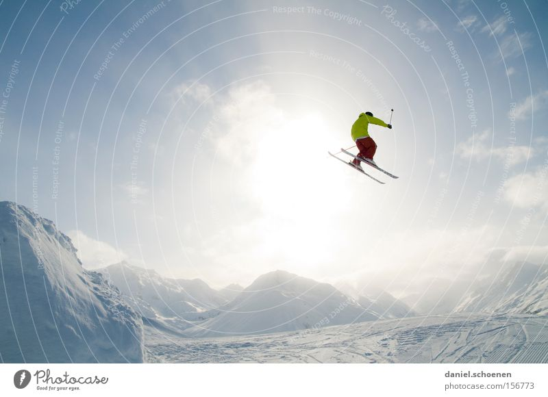 Clouds Winter Mountain Snow Flying Jump Action Tall Dangerous Snowcapped peak Risk Skiing Brave Snowscape Skier Winter sports