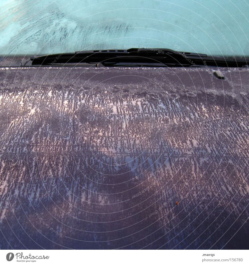 Winter Cold Car Ice Metal Road traffic Transport Motor vehicle Driving Frost Violet Exceptional Frozen Motoring Vehicle