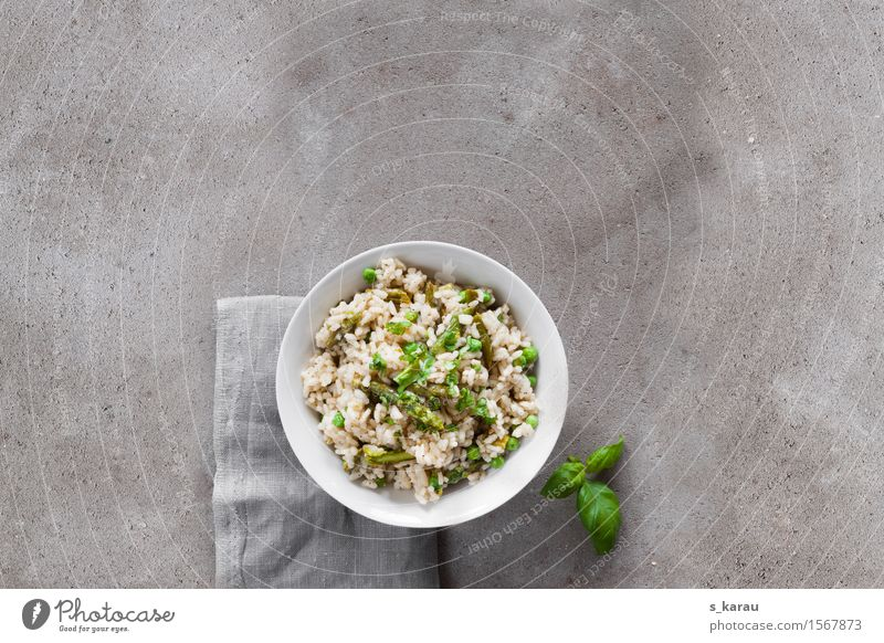 asparagus risotto Food Vegetable Grain Herbs and spices Nutrition Lunch Dinner Vegetarian diet Diet Slow food Bowl Healthy Eating Concrete Fresh Hot Natural