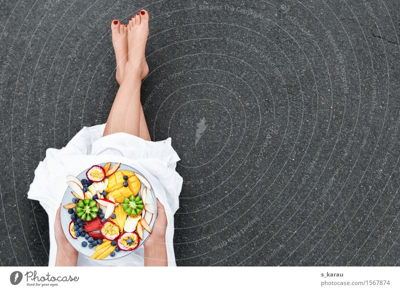 Human being Colour Healthy Eating Feminine Happy Legs Food Fruit Fresh Nutrition Orange To enjoy Dress Organic produce