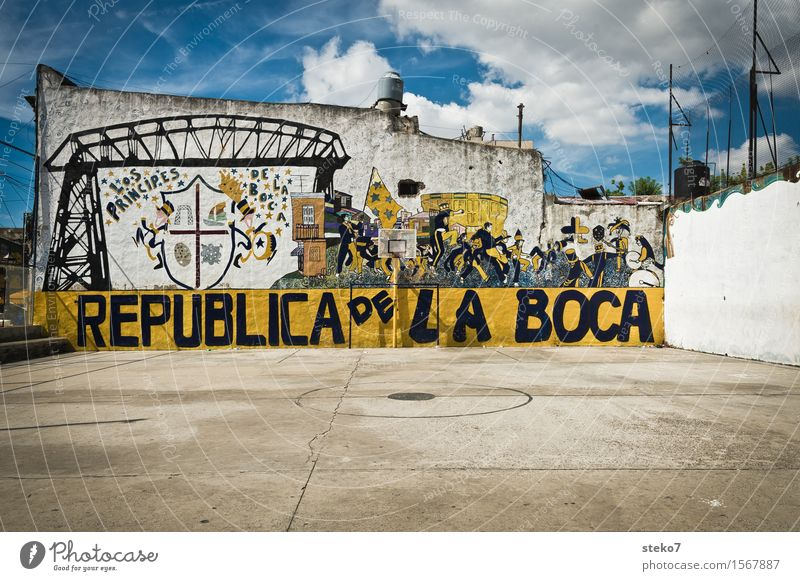 La Boca Buenos Aires Deserted Sporting grounds Wall (barrier) Wall (building) Colour Art Sports Tradition Town Attachment Street art Graffiti Foot ball