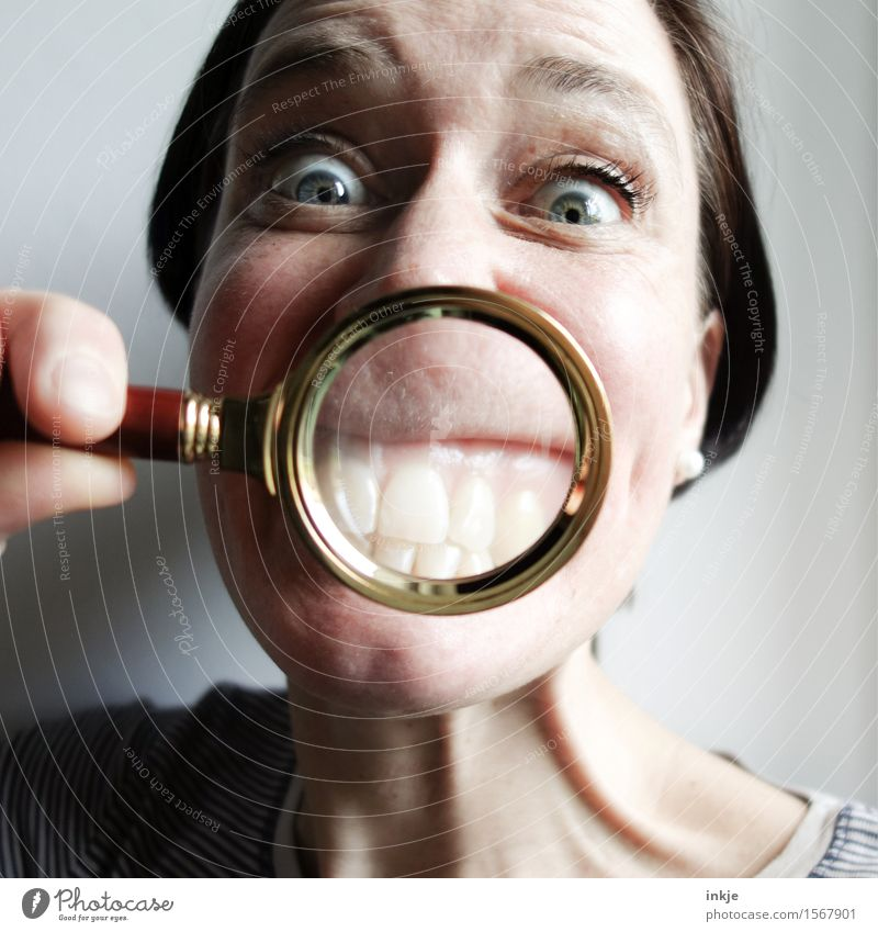 Human being Woman Joy Face Adults Life Funny Happiness Smiling Near Teeth Grinning Grimace Magnifying glass 30 - 45 years Enlarged