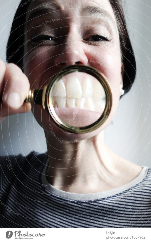 Human being Woman Joy Face Adults Life Emotions Funny Lifestyle Happiness Smiling Near Teeth Grinning Grimace Magnifying glass