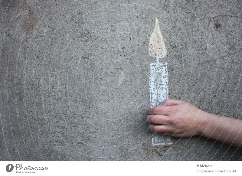 Hand Birthday Concrete Candle Boredom Flame Chalk Jubilee Congratulations