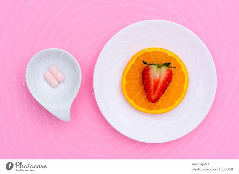 White Red Food Pink Fruit Orange Plate Bowl Vitamin Strawberry Pill Orange slice Nutrional supplement