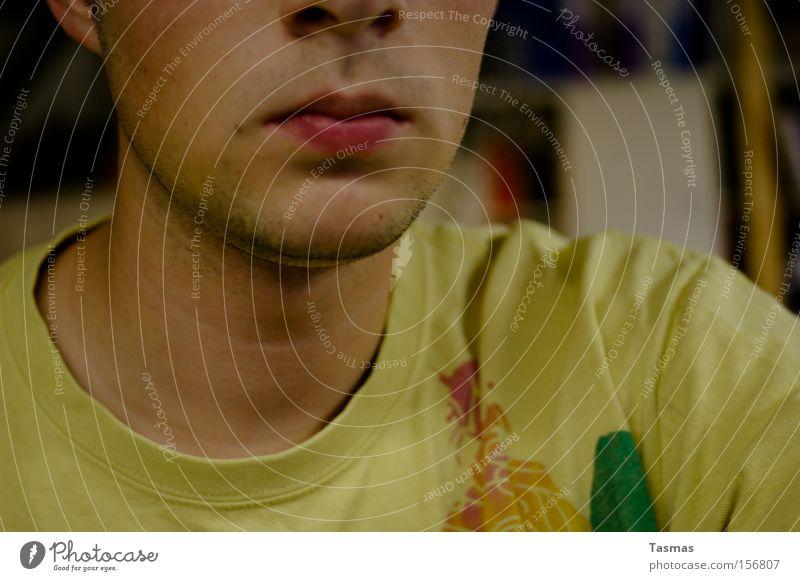 Man Adults To enjoy Mouth Nose T-shirt Ear Facial hair Partially visible Designer stubble