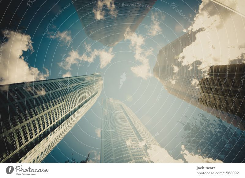 Clouds and the city Sky City Style Contentment High-rise Tall Fantastic Climate Beautiful weather Change Infinity Downtown Long Double exposure Surrealism