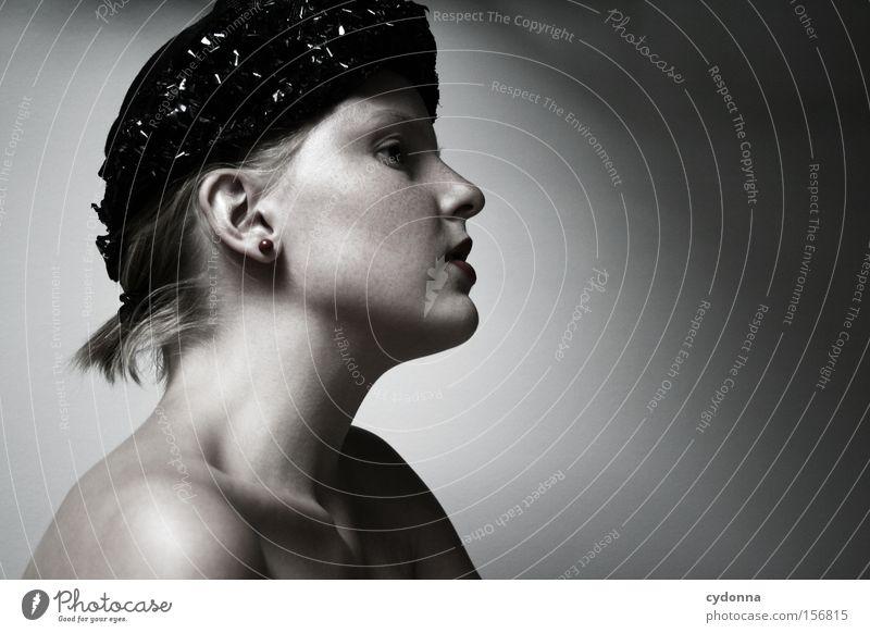 Thoughtless Human being Woman Portrait photograph Calm Looking Hat Retro Beautiful Esthetic Head Feminine Longing Light Classic Profile Emotions