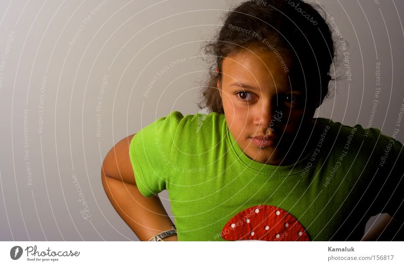 Mushroom Top Girl Youth (Young adults) Green Red White Portrait photograph Child