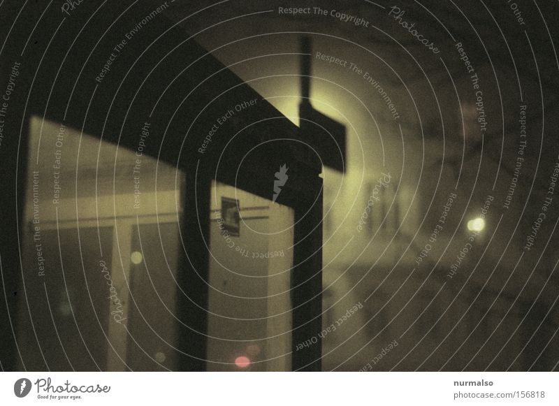 City Winter Cold Window Fear Fog Film industry Creepy Lantern Station Traffic infrastructure Loudspeaker Panic Night Eerie Stop (public transport)