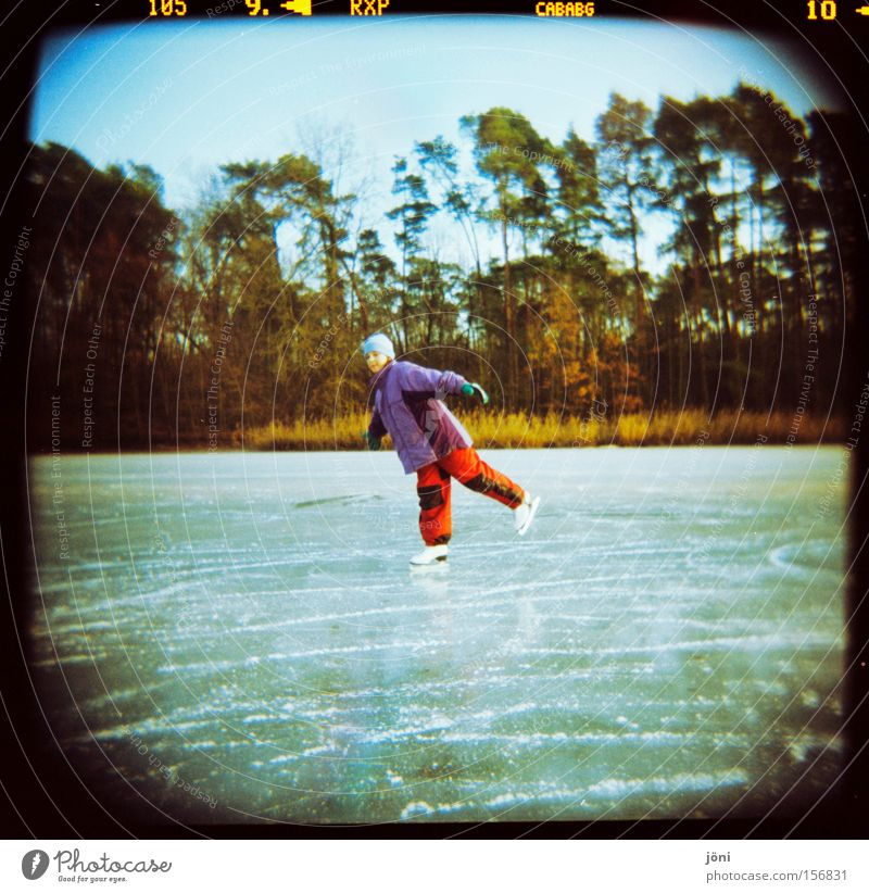 ice princess Ice-skates Ice-skating Winter Frost Forest Holga Nature Lake Lomography Winter sports Light