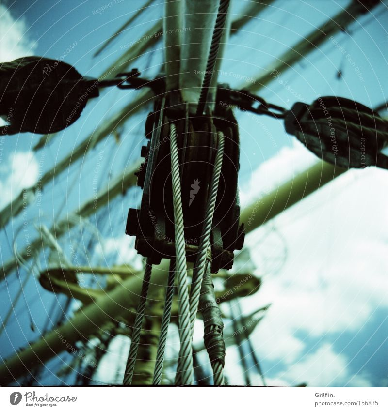 Sky Clouds Watercraft Longing Navigation Sailing Electricity pylon Block Depart Seaman Sailing ship Profession Sheet