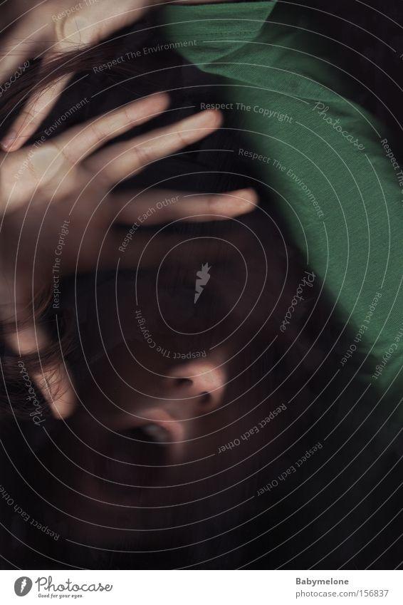 Woman Hand Green Face Fear Scream Distress Panic Go under Cry for help Needy Silent Comprehend