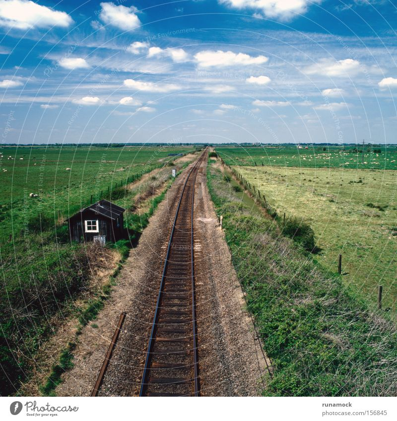 To infinity Far-off places Line Metal Transport Railroad Communicate Tracks Steel England Gravel Flat Level Means of transport Line (row of words) Destination