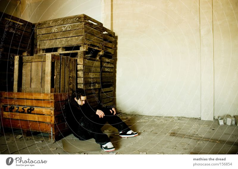 jilted Man Dreadlocks Grief Loneliness Fatigue Dirty Creepy Threat Derelict Transience dread Sadness Exhaustion Wooden box Shame Storage