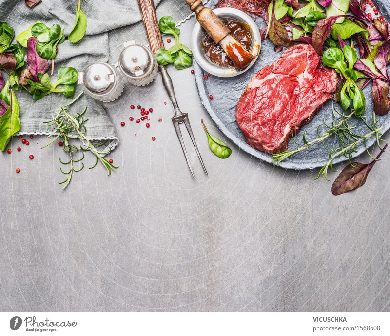 Steak and green salad. Prepare meat for grilling Food Meat Lettuce Salad Herbs and spices Cooking oil Nutrition Lunch Dinner Picnic Organic produce Plate Bowl