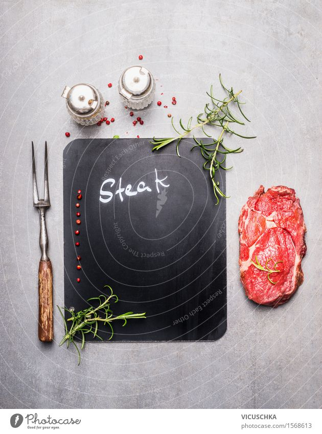 Background with table, steak and meat fork Food Meat Herbs and spices Nutrition Lunch Dinner Banquet Organic produce Fork Style Design Kitchen Restaurant