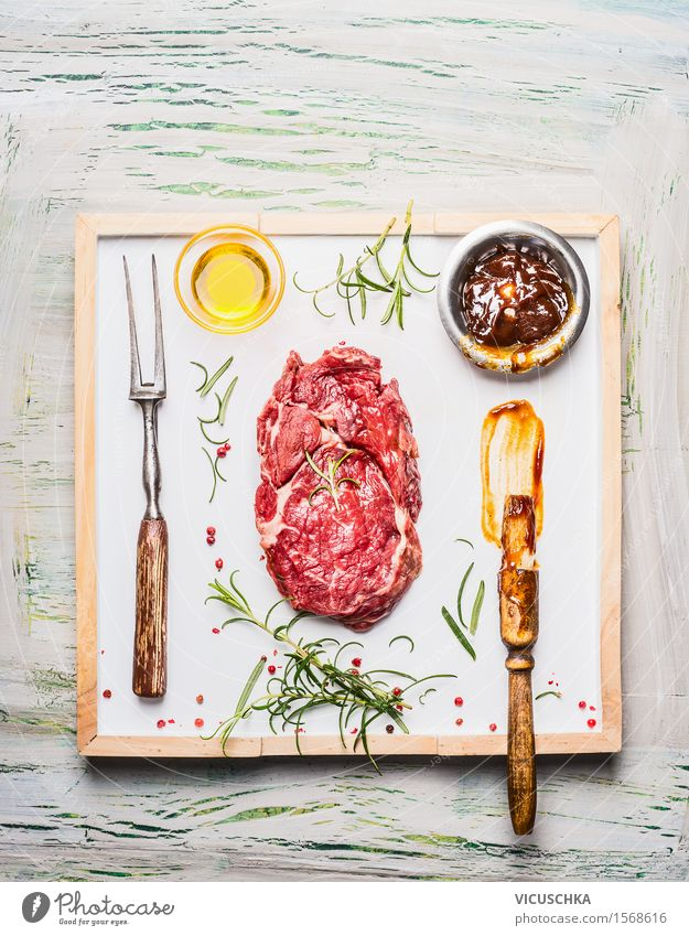 Marinate barbecue steak Food Meat Herbs and spices Cooking oil Lunch Buffet Brunch Banquet Business lunch Picnic Bowl Fork Style Design Table Kitchen Restaurant