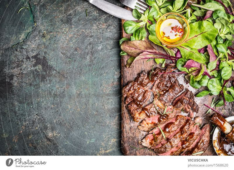 Grilled steak with green salad Food Meat Vegetable Lettuce Salad Herbs and spices Cooking oil Nutrition Lunch Dinner Buffet Brunch Business lunch Picnic