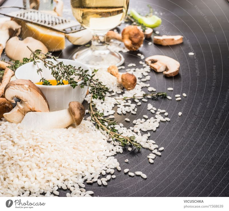 Ingredients for mushroom risotto Food Vegetable Grain Herbs and spices Cooking oil Nutrition Lunch Dinner Banquet Italian Food Crockery Style Design