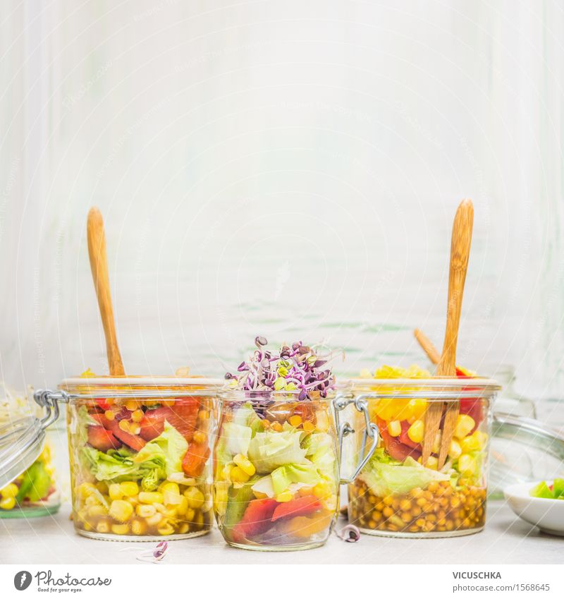 Salads in jars with vegetables, lentils, corn and sprouts Food Vegetable Lettuce Grain Nutrition Lunch Buffet Brunch Picnic Organic produce Vegetarian diet Diet