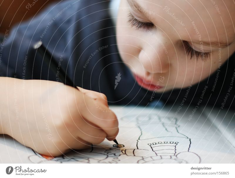 Child Boy (child) Art Study Infancy Concentrate Pen Draw Painting and drawing (object) Creativity Kindergarten Artist Crayon Imitate