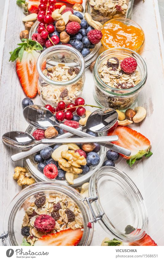 Ingredients for a healthy breakfast Food Fruit Grain Dessert Nutrition Breakfast Juice Crockery Glass Cutlery Spoon Lifestyle Style Healthy Healthy Eating